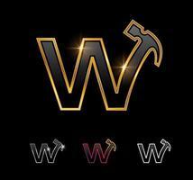 Golden Monogram Hammer Letter W vector