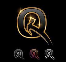 Golden Monogram Hammer Letter Q vector