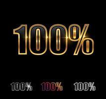 signo de vector de porcentaje de oro 100