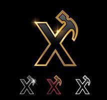Golden Monogram Hammer Letter x vector