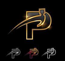 Golden Monogram Hammer Letter P vector