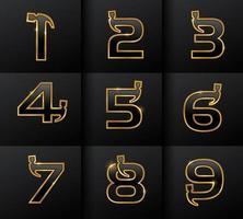 Golden Monogram Hammer Numerical vector