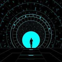 Ilustración conceptual de un portal dimensional. vector