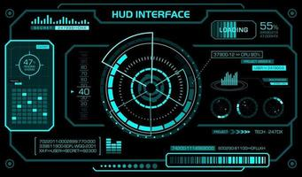 plantilla de interfaz de hud. fondo negro, pantalla frontal futurista. vector