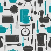 Grunge Retro vector illustration seamless pattern of kitchen tools for cooking