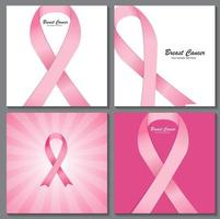 Breast Cancer Awareness Pink Ribbon Background Collection Set Ve vector
