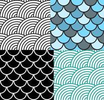 Seamless Fish Scale Pattern Set Vector Illustration
