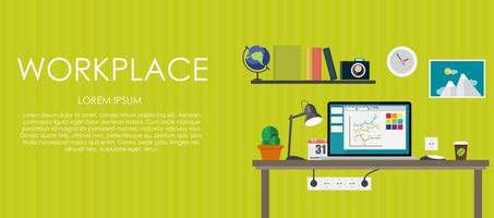 Workplace. Vector illustration. Flat computing background.