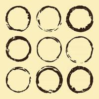 Coffee stain set. Brown ring blots isolated on beige background. Vector illustration.