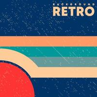 Retro design background with vintage grunge texture and colored lines. Vector illustration.