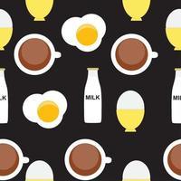 Scrambled Egg, Soft-Boiled Egg, Milk, Coffee Seamless Pattern Breakfast Background Vector Illustration