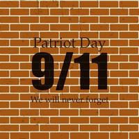 Patriot Day the 11-9 Label, We Will Never Forget Vector Illustr