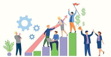 Financial success of the team of top managers, friendly staff - Vector