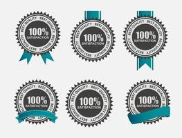 Vector 100 Satisfaction  Retro Label Set with Blue Ribbon.