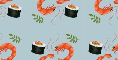 patrón sin costuras, varios mariscos, caviar, camarones, rollos vector