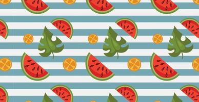 Seamless pattern, realistic pieces of watermelon vector