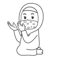 Muslim girl use pink shirt and hijab,praying in iftar.  ramadan  night, using mask and healthy protocol.Character illustration. vector