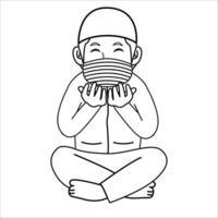 Hombre musulmán rezando por la noche, mes de Ramadán, usando máscara y protocolo saludable.Ilustración de personaje. vector