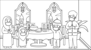 During the corona virus pandemic,muslim family stay at home and party at iftar maghrib ,in ramadan month.Using masks and health protocols.children book illustration. vector