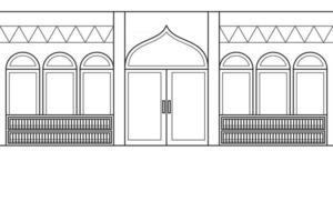 Inside The Mosque With a Bookshelf in The Background. Vector. Coloring Book. vector