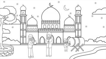 During the corona pandemic, muslim in mosque courtyard starry night at ramadan month.Muslim activity and pray.  donation zakat, using masks and health protocols. vector book illustration.