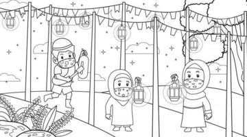 durante la pandemia del virus corona, los musulmanes ayudan a otro musulmán a despertarse para la actividad diaria del mes de ramadán suhoor.muslim. vector