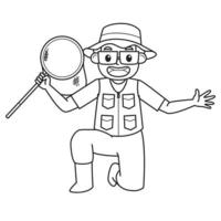 Dad Holding Fishing Nets. Character. Black and White Illustration. Coloring Book Illustration. Vector