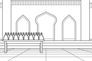 Using The Mosque Courtyard As a Place To Distribute Sadaqah. Vector. Coloring Book. vector