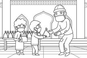 día de distribución de la shadaqah por parte de los niños a los pobres en el patio de una mezquita. vector. libro de colorear. vector