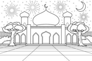 Mosque Courtyard With Moonlight And Fireworks on Background. Vector Illustration. Coloring Book Illustration.