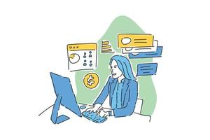woman work with team online hand drawn illustration vector