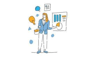 business woman presentation finance management drawn illustration vector