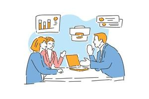 team business talking about marketing drawn illustration vector