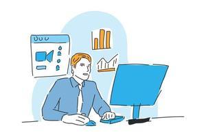 man working online business drawn illustration vector