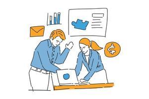 partner business work together drawn illustration vector