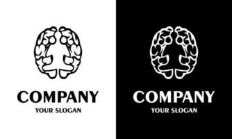Ilustration vector graphic of  brain and human meditation icon logo design inspiration