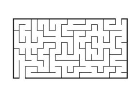 Black rectangular labyrinth. Game for kids. Puzzle for children. Maze conundrum. Flat vector illustration isolated on white background.