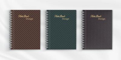 Set of geometric pattern notebook cover background design vector