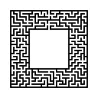 Black abstract square maze with a place for your image. An interesting and useful game for kids. A simple flat vector illustration isolated on a white background.