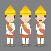 Lampung Indonesia Character with Various Expression vector