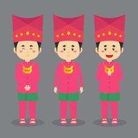 Jambi Indonesia Character with Various Expression vector