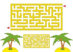 Color rectangular maze. Yellow beach with palm trees in cartoon style. Game for kids. Puzzle for children. Labyrinth conundrum. Flat vector illustration isolated on white background. With the answer.