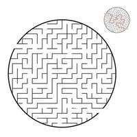 Abstract round maze. Game for kids and adults. Puzzle for children. Labyrinth conundrum. Flat vector illustration isolated on white background. With the correct answer.