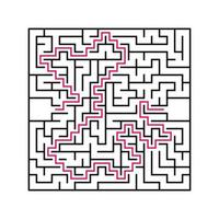 Black square maze with entrance and exit. An interesting and useful game for children. Simple flat vector illustration isolated on white background. With the answer.