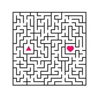 Abstract square maze. An interesting and useful game for children. Find the path from arrow to heart. Simple flat vector illustration isolated on white background.