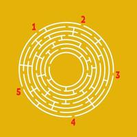 Abstract round maze. Game for kids. Puzzle for children. Find the right path. Labyrinth conundrum. Flat vector illustration isolated on color background. With place for your image.