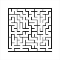 Abstract square maze. Game for kids. Puzzle for children. One entrances, one exit. Labyrinth conundrum. Simple flat vector illustration isolated on white background.