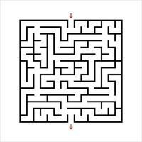 Black square maze. An interesting and useful game for kids. Children's puzzle with one entrance and one exit. Labyrinth conundrum. Simple flat vector illustration isolated on white background.
