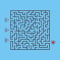Abstract square maze. Game for kids. Puzzle for children. Find the right path to the heart. Labyrinth conundrum. Flat vector illustration isolated on white background.