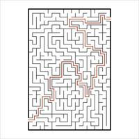 Abstract rectangular maze. Game for kids. Puzzle for children. One entrances, one exit. Labyrinth conundrum. Simple flat vector illustration isolated on white background. With answer.